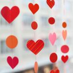 Corações de papel na decoração