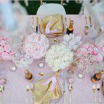 Chá surpresa glamuroso em rosa e dourado