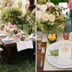 Cenas de um picnic shabby chic de Primavera