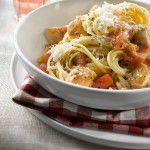 {Prato do fim de semana} Spaghetti integral com frango, tomate e pimentão do Chef Garvin