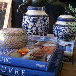 {Sala} Livros e revistas na decoração