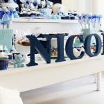 Chá de fralda azul e branco com tema de ursos