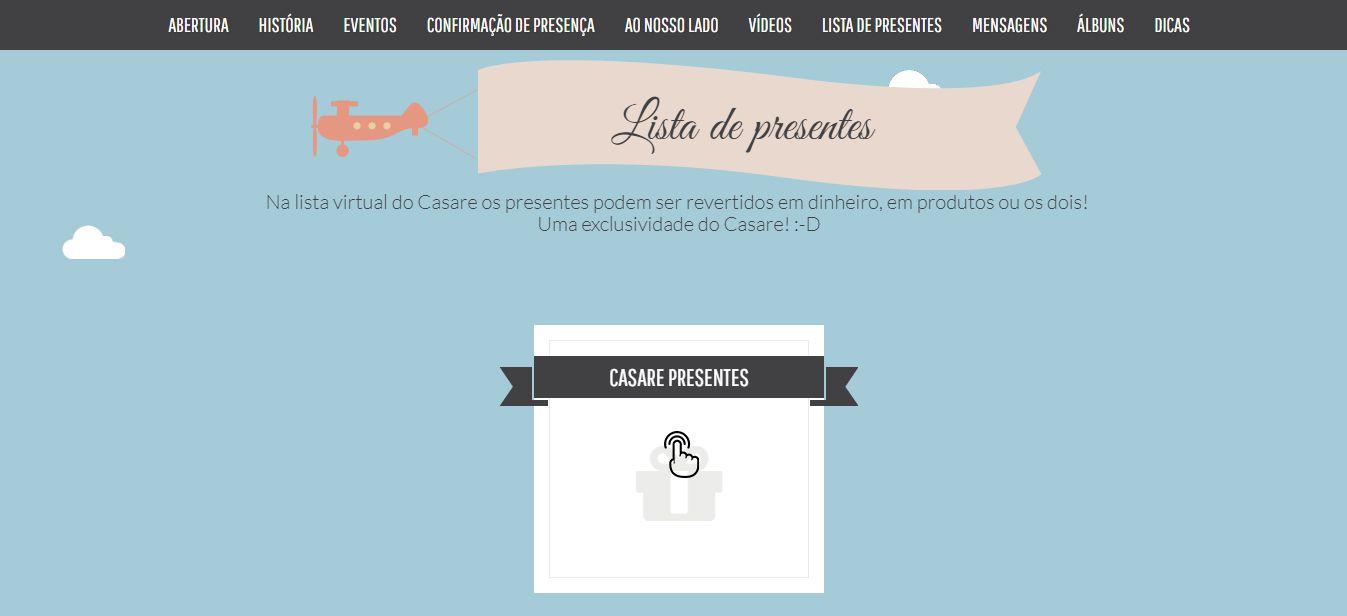 compra-lista Lista de Presentes de Casamento em dinheiro do Casare!