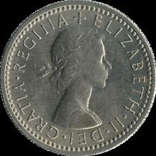 """british_sixpence_1962_obverse """"Algo velho, algo novo, algo emprestado, algo azul e uma moeda de prata no sapato dela"""""""