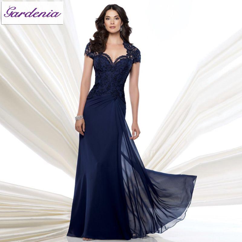 Elegant-Navy-Blue-Vestidos-Madre-De-La-Novia-A-line-Cap-Sleeve-Lace-Long-Chiffon-font