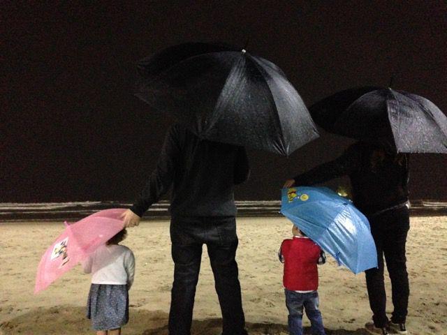 Praia com chuva