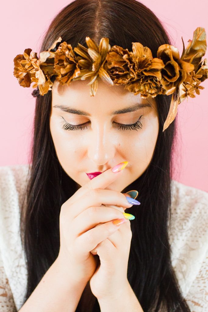 DIY-metallic-bronze-gold-floral-crown-faux-flower-headband-Wedding-bridal_-12-683x1024 COROA DE FLOR METÁLICA