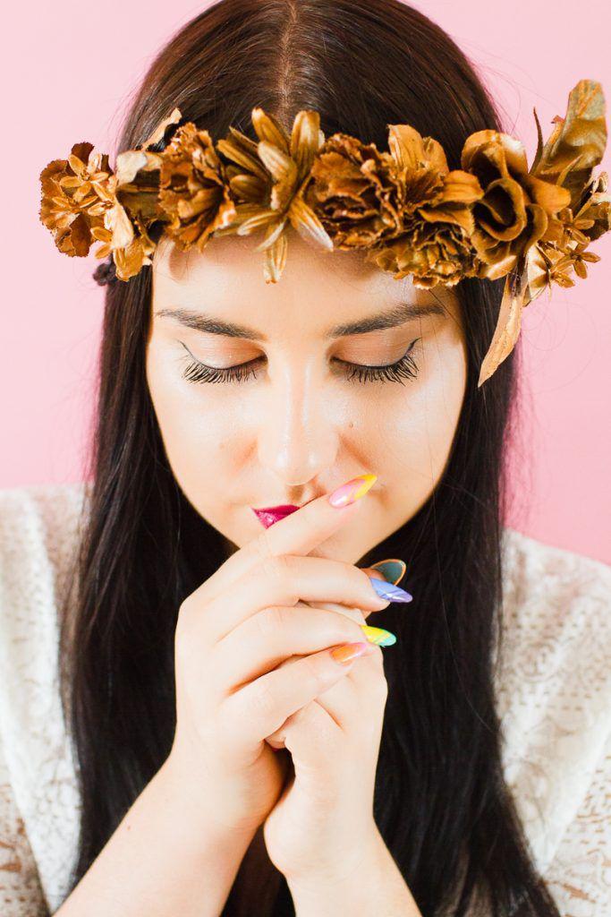 DIY-metallic-bronze-gold-floral-crown-faux-flower-headband-Wedding-bridal_-12-683x1024 COROA DE FLOR METÁLICA