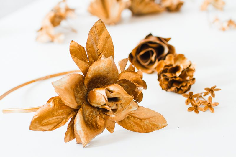 DIY-metallic-bronze-gold-floral-crown-faux-flower-headband-Wedding-bridal_-4 COROA DE FLOR METÁLICA