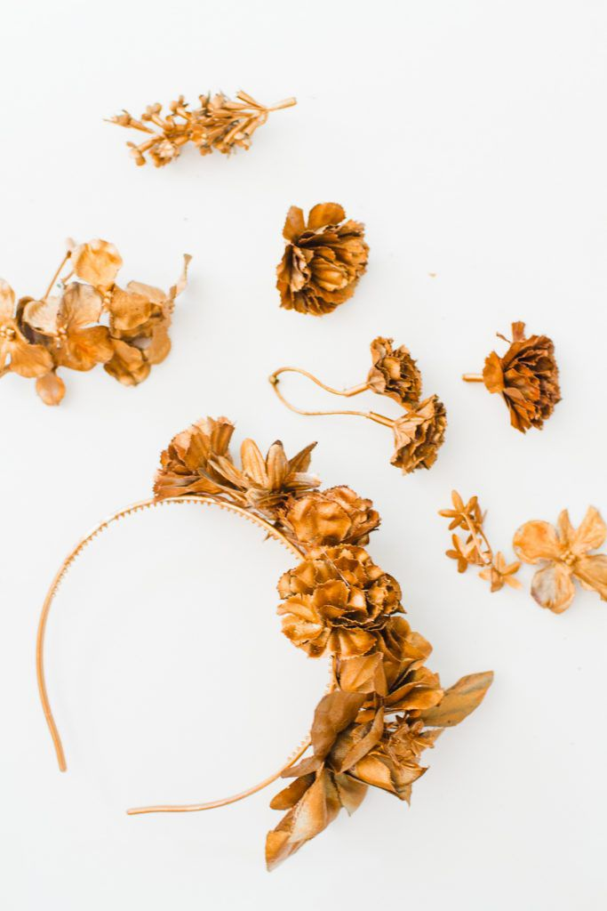 DIY-metallic-bronze-gold-floral-crown-faux-flower-headband-Wedding-bridal_-5-683x1024 COROA DE FLOR METÁLICA