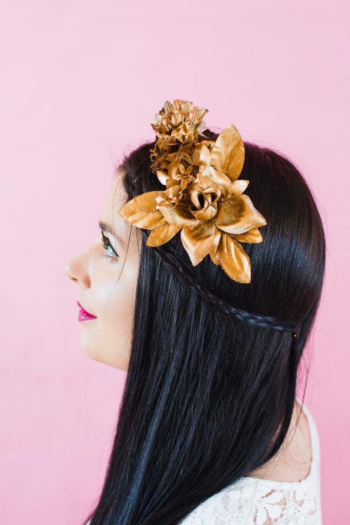 DIY-metallic-bronze-gold-floral-crown-faux-flower-headband-Wedding-bridal_-7-683x1024 COROA DE FLOR METÁLICA
