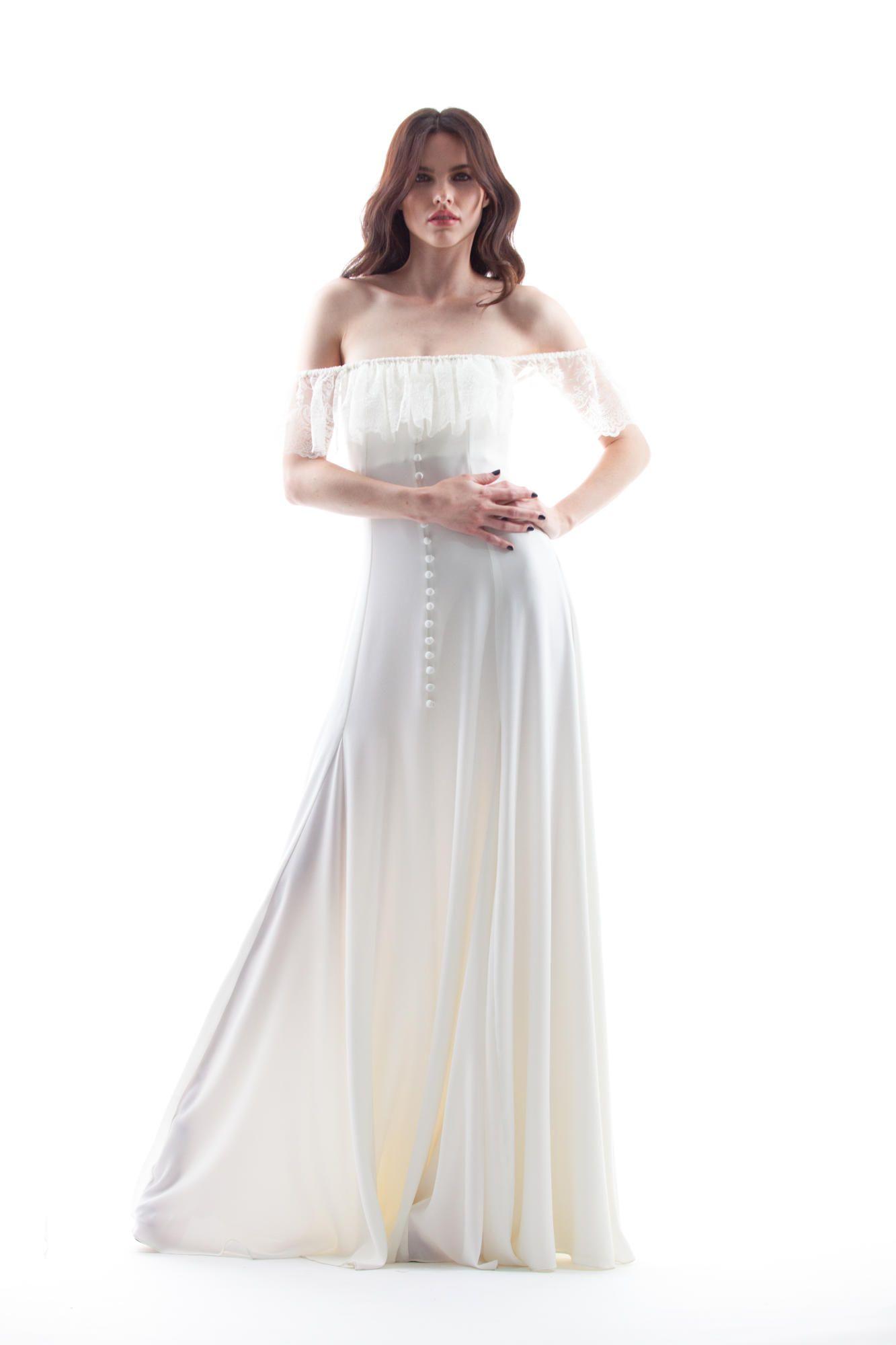 houghton-spring-2018-bridal-70s-gown Tendências de vestidos de noiva para 2018