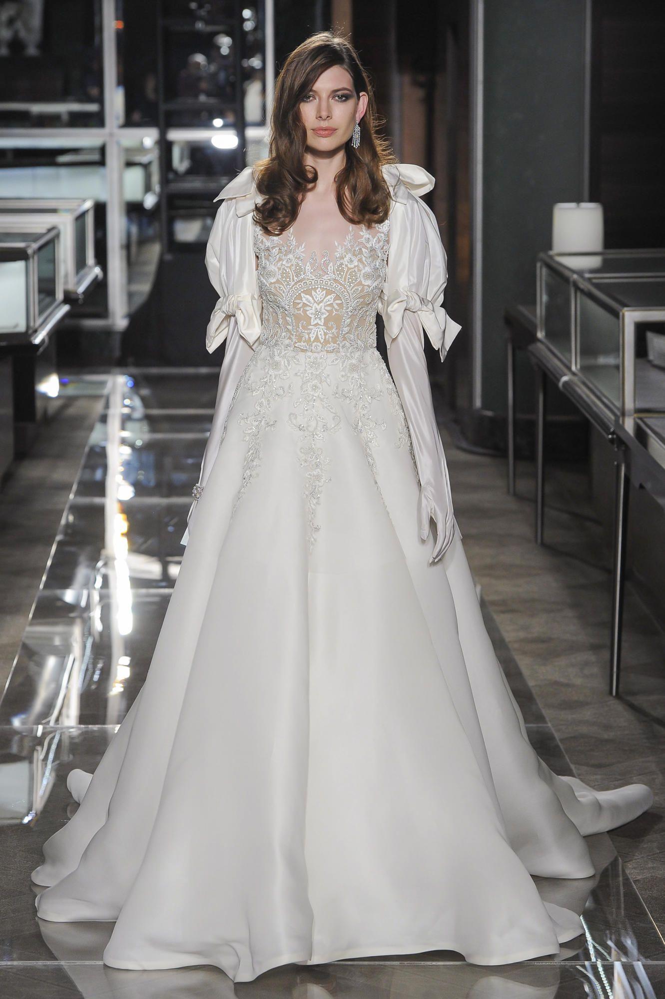 reem-acra-bridal-spring-2018-puff-sleeve Tendências de vestidos de noiva para 2018