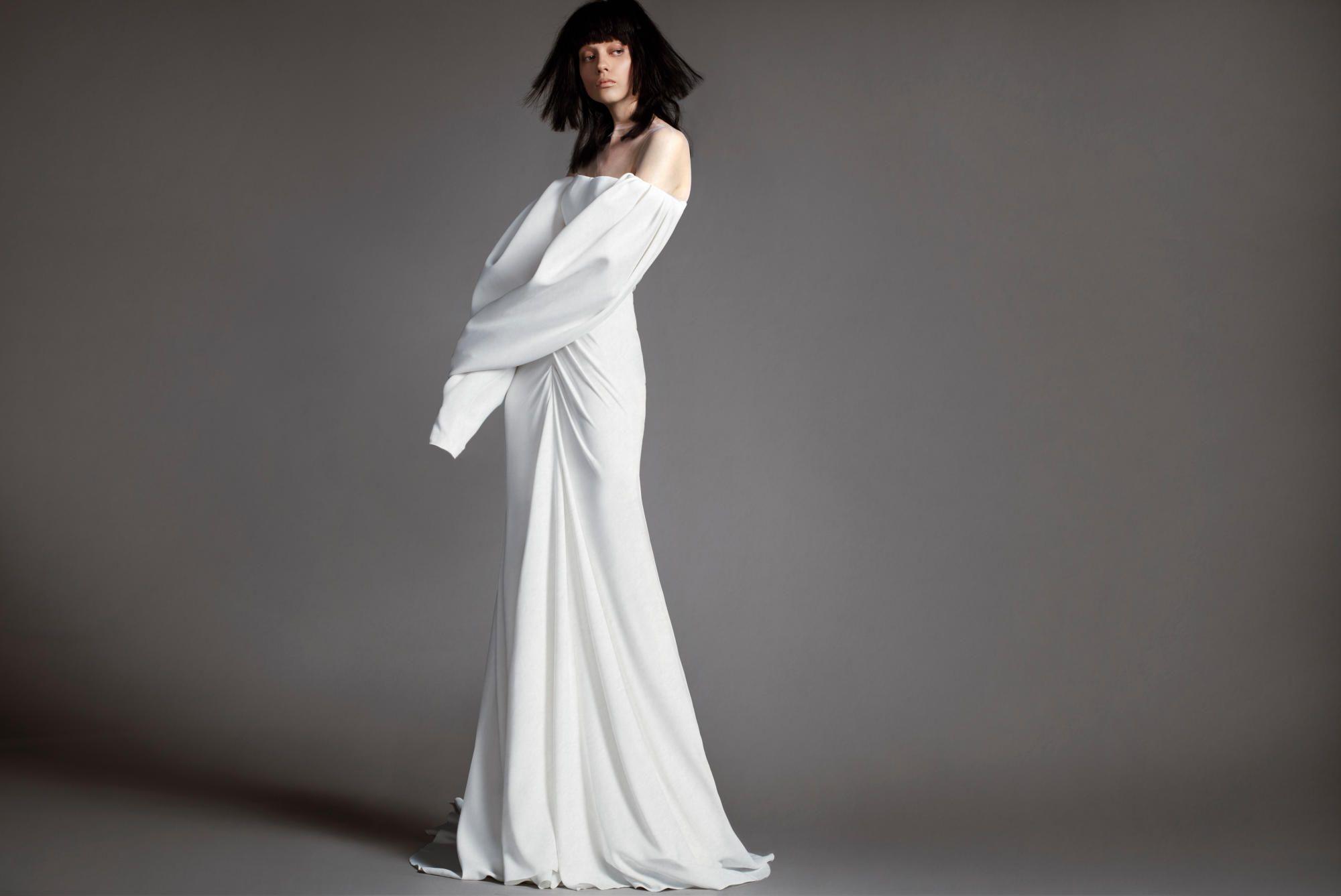 vera-wang-spring-2018-bridal-off-the-shoulder-puff-sleeve Tendências de vestidos de noiva para 2018