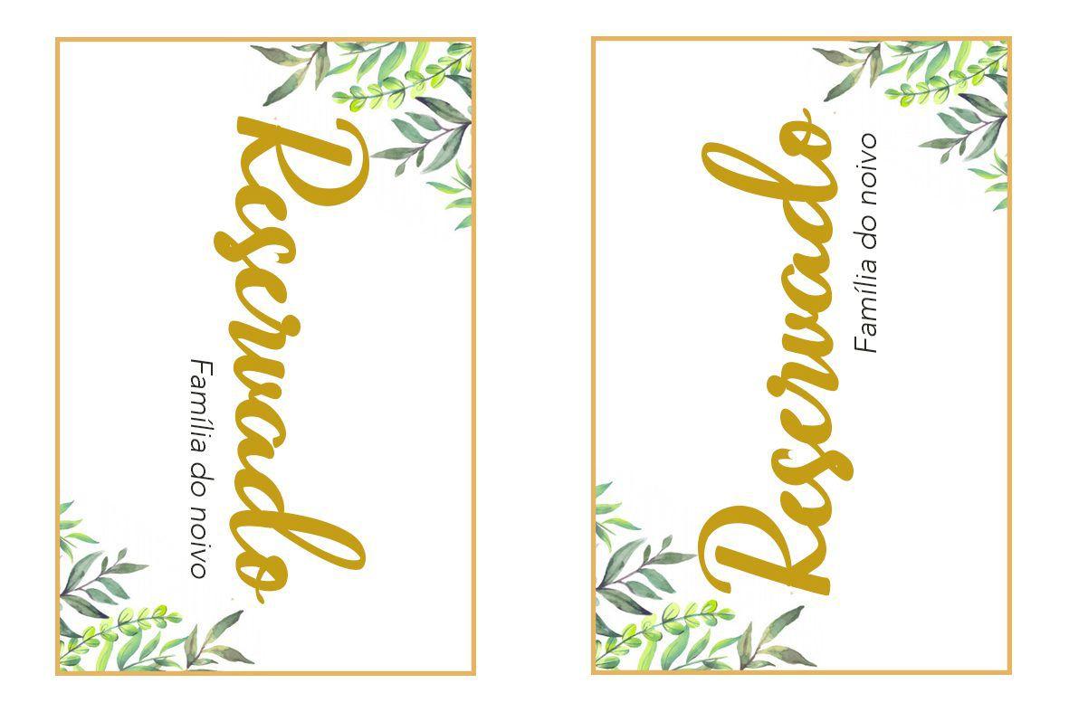 Pronto Para Imprimir Placa De Reservado De Mesa Para Casamento
