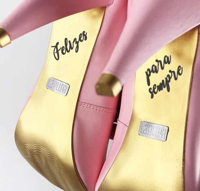 adesivo de sapato de noiva com frase