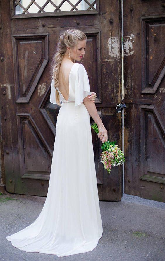 Vestido-Casamento-no-Civil-2020-longo-mangas Vestido para casamento civil: tendências para o verão de 2020